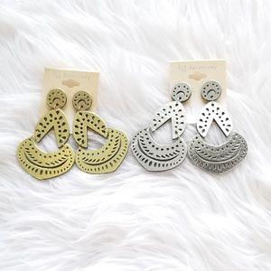 Gold/silver wood earrings